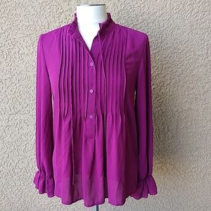 Bobeau High Collar Button Blouse NWT Long Sleeves